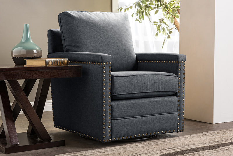 Classic Retro Nail Trim Swivel Arm Chair in Grey Fabric - The Furniture Space.