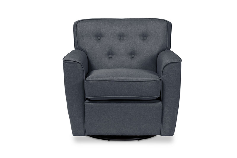 Classic Retro Button Tufted Swivel Lounge Chair in Grey Fabric - The Furniture Space.
