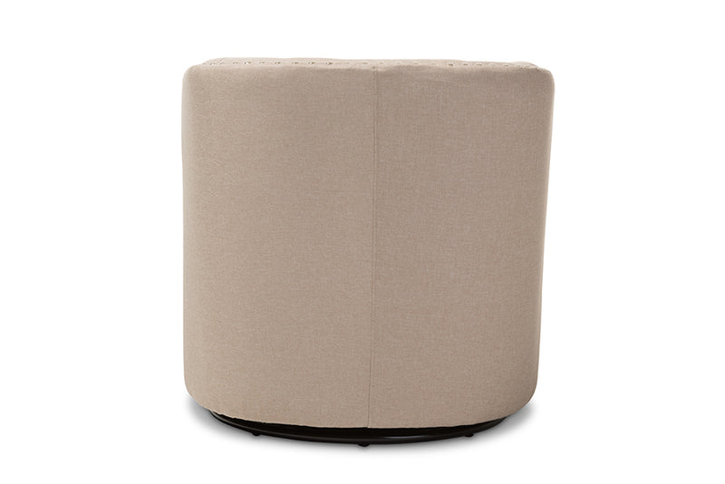 Mid-Century Swivel Armchair in Beige Fabric