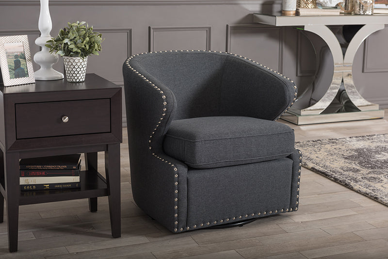 Mid-Century Swivel Armchair in Grey Fabric