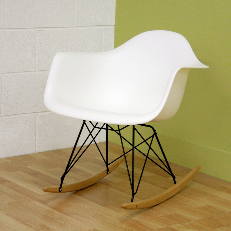 Mid-Century Rocking Chair in White Molded Plastic