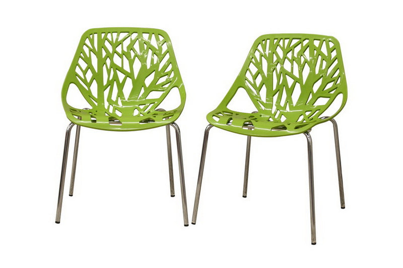 Modern 4 Metal Dining Chairs in Green Plastic Seat