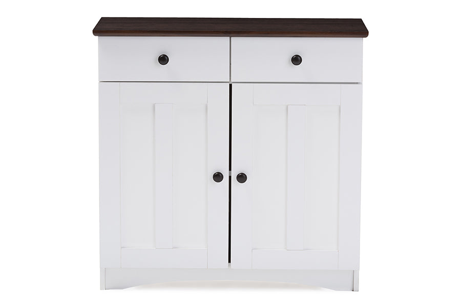 Contemporary Kitchen Buffet Storage Cabinet in White & Wenge