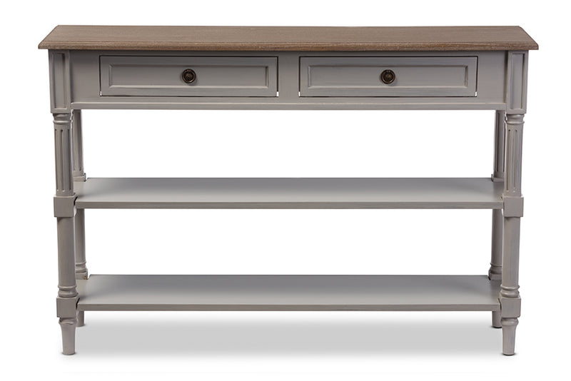 French Provincial Console Table in White/Light Brown Distressed