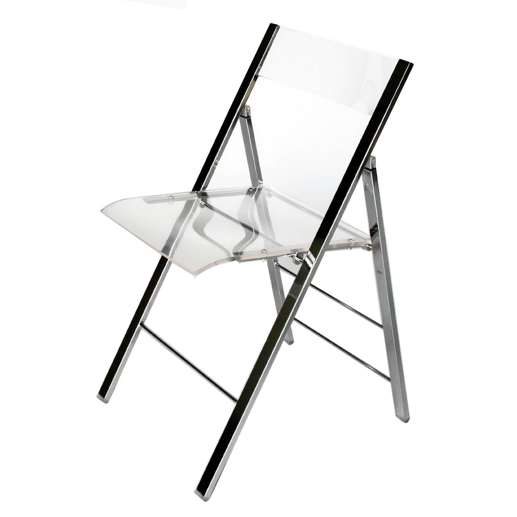 Modern 2 Steel Foldable Dining Chairs in Clear Acrylic