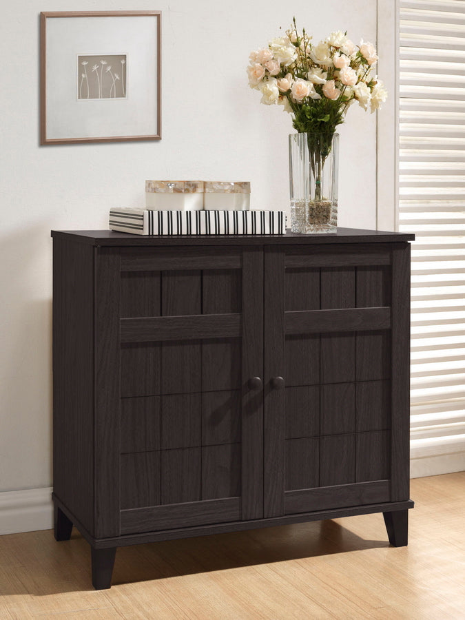Modern Shoe Cabinet in Dark Brown