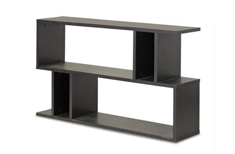 Modern 2 Shelf Bookshelf in Dark Brown