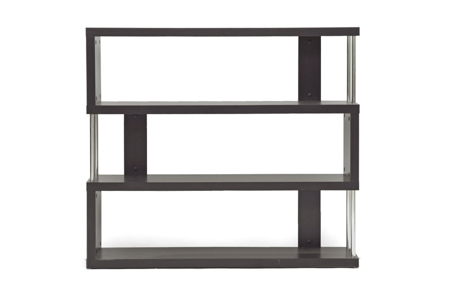 Modern 3 Tier Bookshelf in Dark Brown