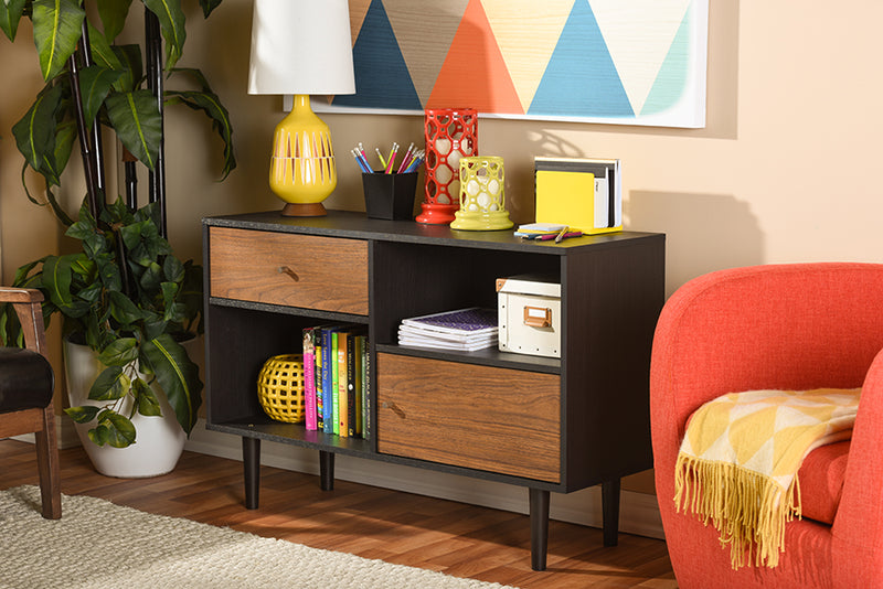 Scandinavian Storage Cabinet in Dark Brown & Walnut