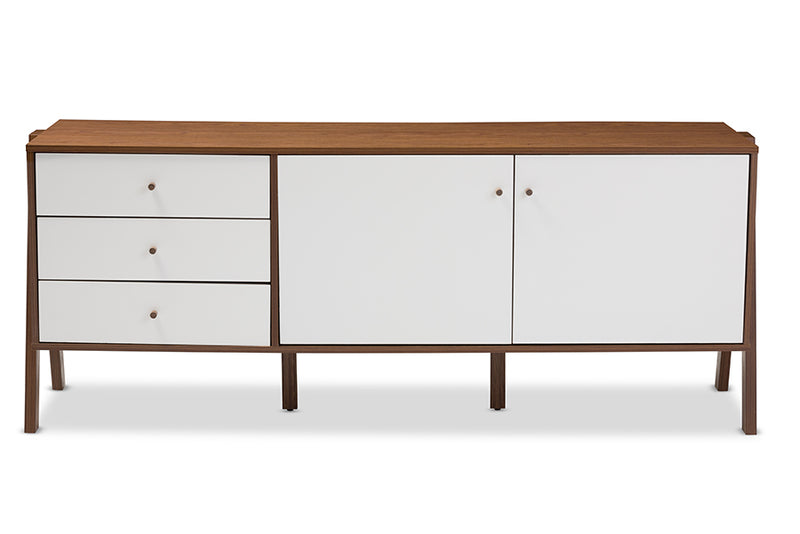 Scandinavian Storage Cabinet in Walnut Brown & White