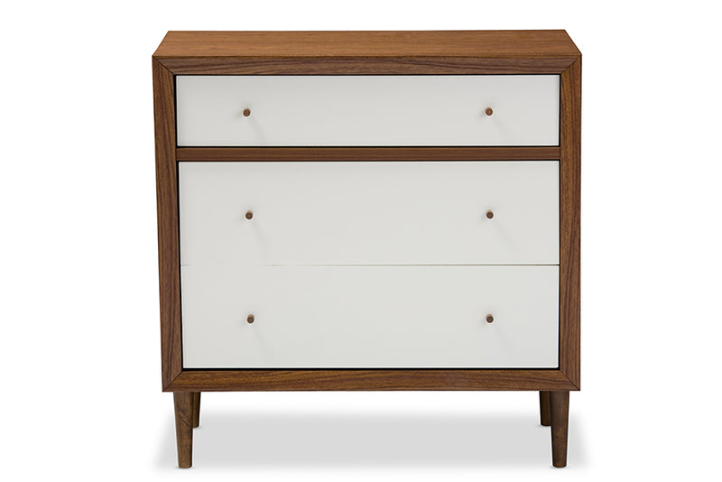 Scandinavian 3 Drawer Accent Chest in Walnut Brown & White
