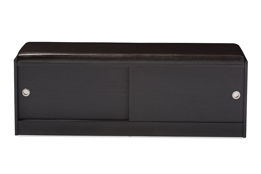 Contemporary Entryway Storage Shoe Rack Bench with Cushion in Dark Brown