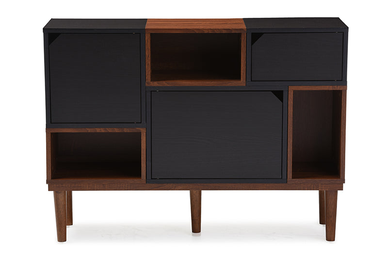 Mid-Century Retro Sideboard Storage Cabinet in Dark Brown & Walnut