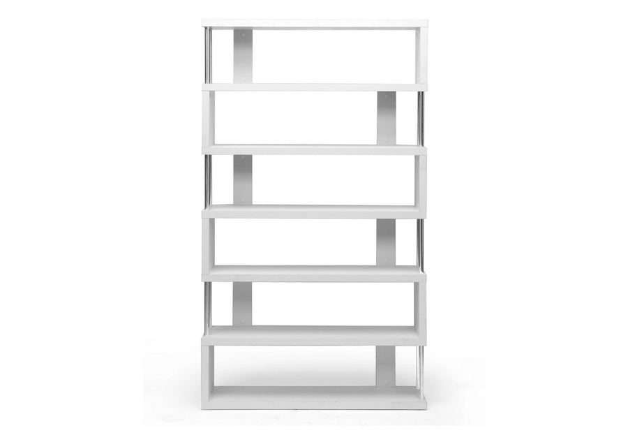 Modern 6 Tier Bookshelf in White
