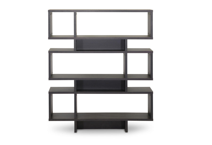 Modern 6 Shelf Bookshelf in Dark Brown