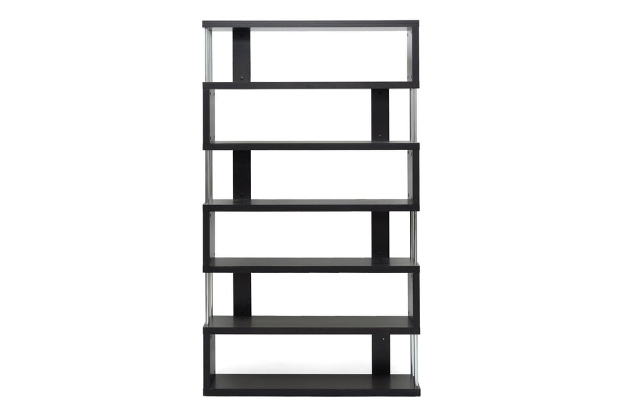 Modern 6 Tier Bookshelf in Dark Brown