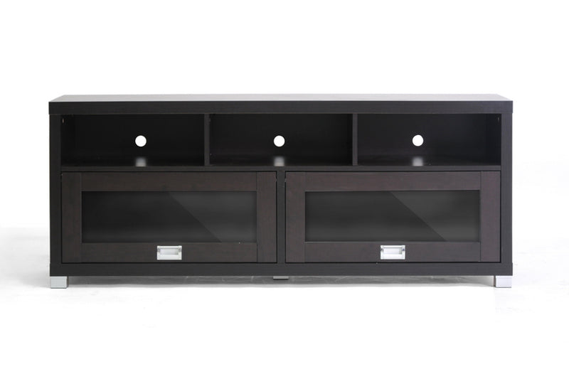 Contemporary TV Stand with Glass Doors in Dark Brown