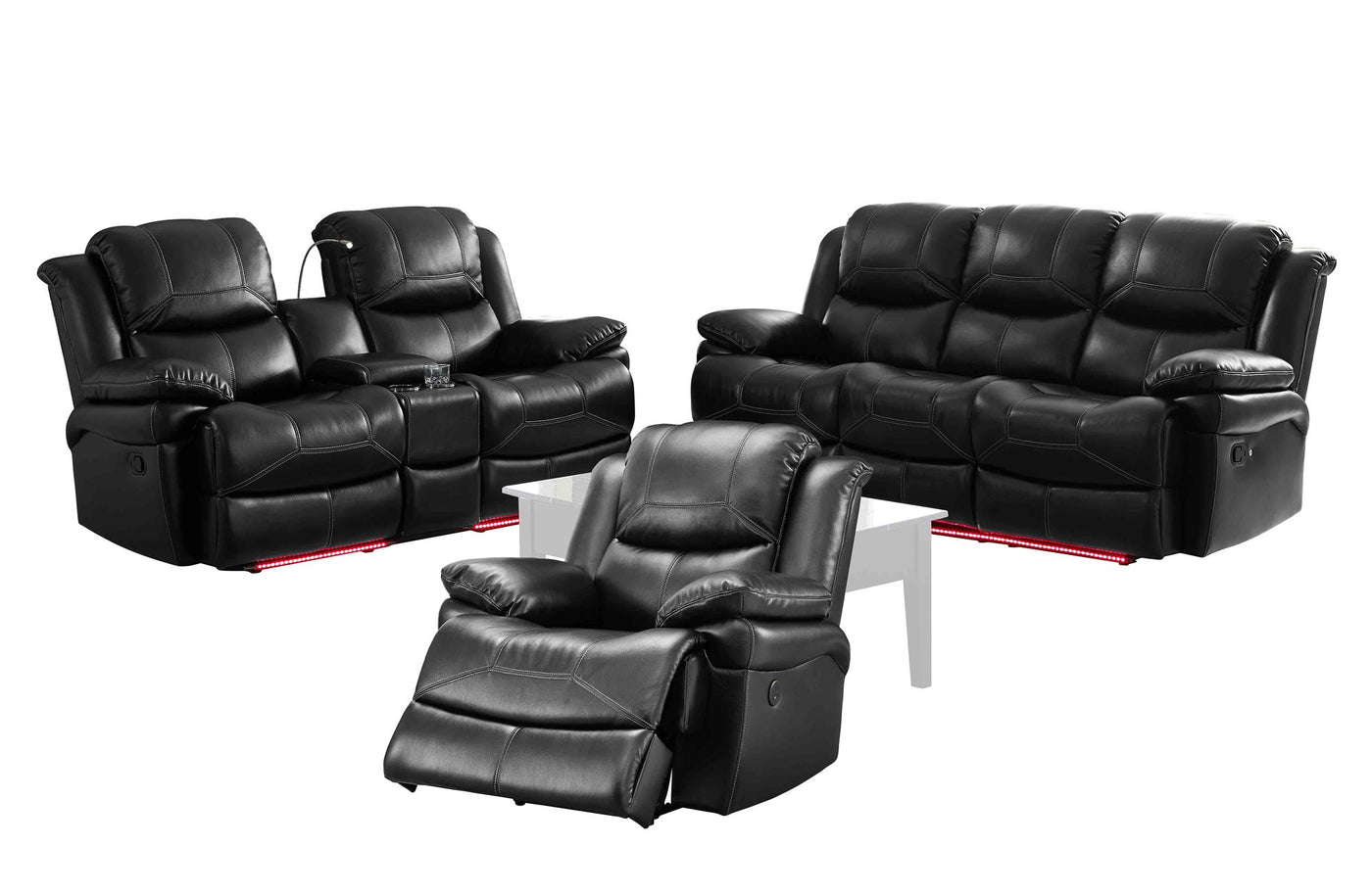 New Classic Flynn 3pc Dual Recliner Sofa Recliner Console Love Seat