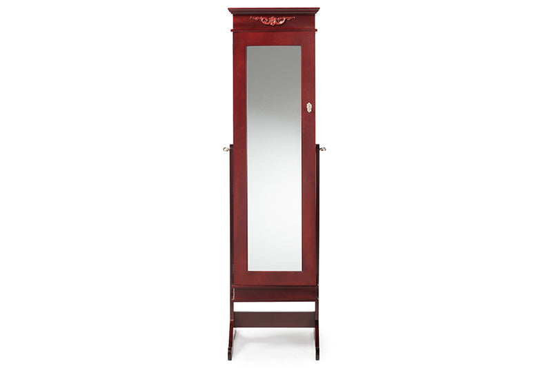 Contemporary Full Length Cheval Mirror Jewelry Armoire in Brown