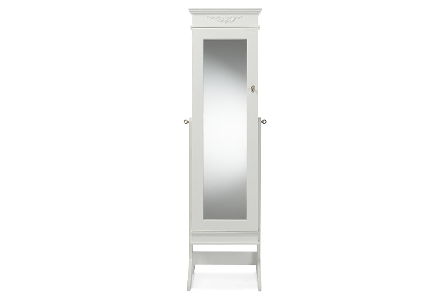 Contemporary Full Length Cheval Mirror Jewelry Armoire in White