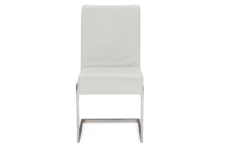 Contemporary 2 Stainless Steel Dining Chairs in White PU Leather - The Furniture Space.