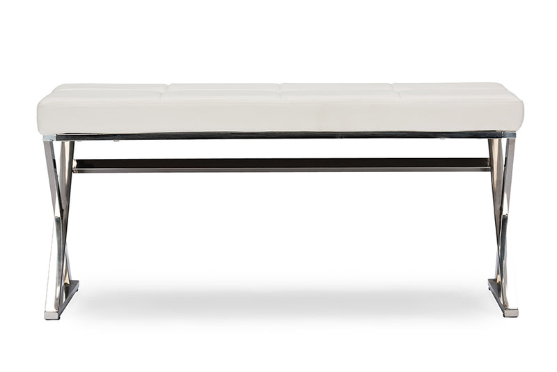 Contemporary Stainless Steel Bench in White PU Leather