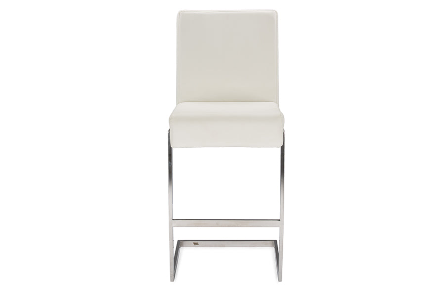 Contemporary 2 Stainless Steel Bar Stools in White PU Leather - The Furniture Space.