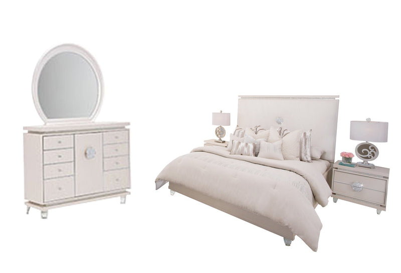 Aico Amini Glimmering Heights 5PC Bedroom Set Cal King Upholstered Bed Dresser Mirror Two Nightstand in Ivory