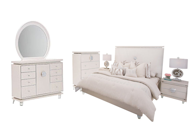 Aico Amini Glimmering Heights 6PC Bedroom Set E King Upholstered Bed Dresser Mirror Two Nightstand Chest in Ivory