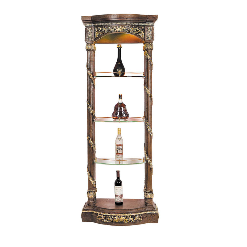 Display Shelf in Antique Gold & Mahogany Finish 1157 European Traditional Victorian