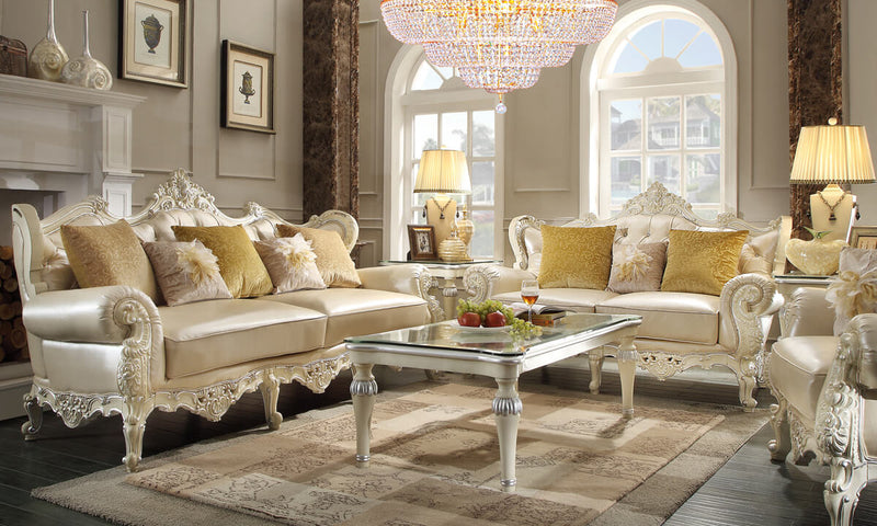 Leather 3 PC Sofa Set in Antique White & Metallic Silver Finish 13009-SSET3 European