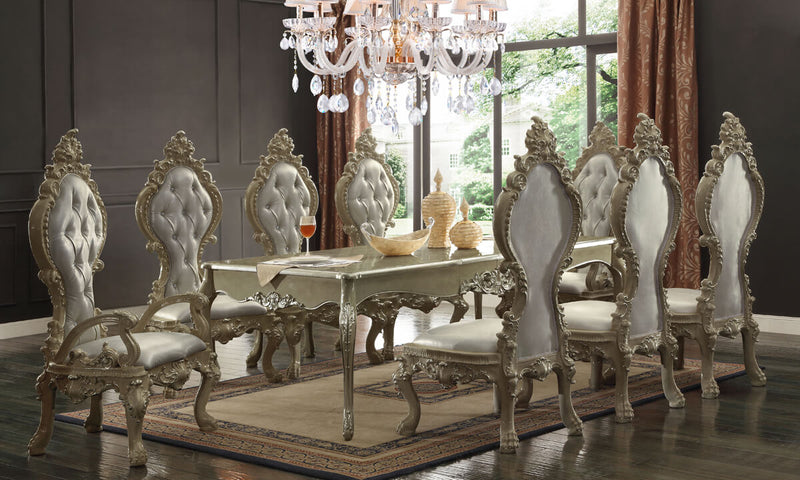 9 PC Dining Table Set in Champagne Gold Finish 13012-G-DTSET9 European Victorian