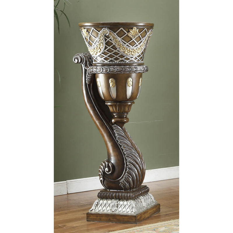 Vase in Brown Cherry & Metallic Silver Finish 1506 European Traditional Victorian