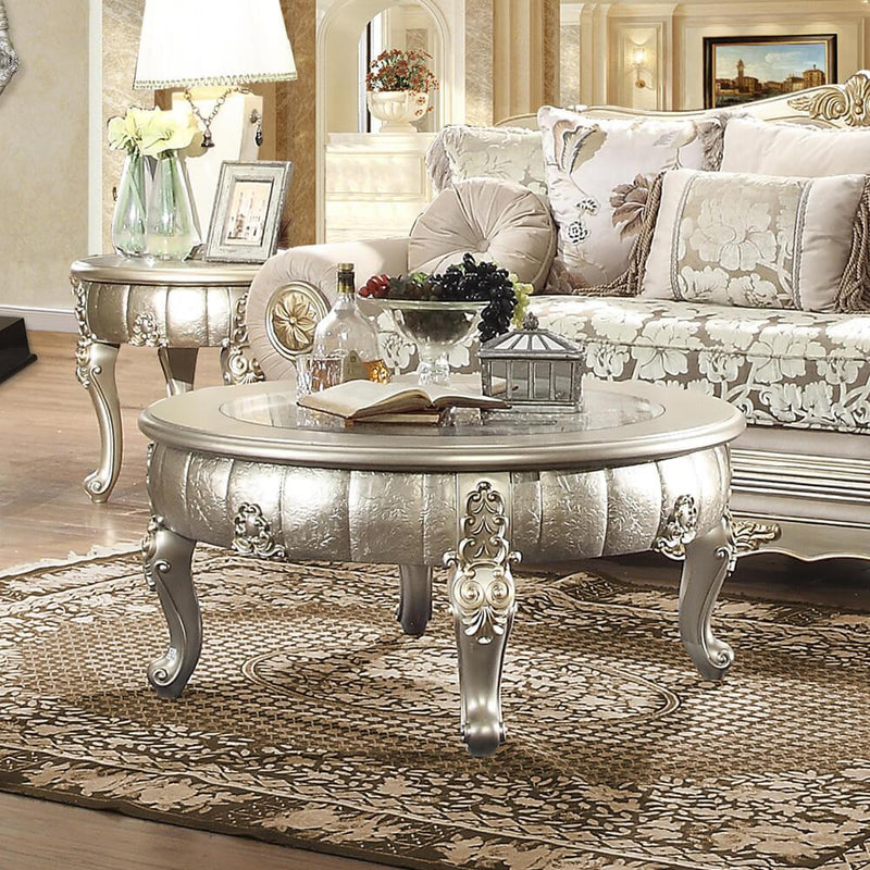 End Table in Belle Silver Finish E1560 European Traditional Victorian