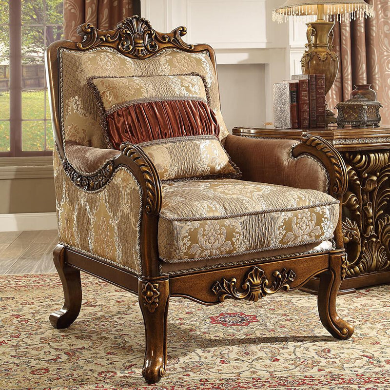 Fabric Sofa in Metallic Antique Gold Finish S1601 European Traditional Victorian