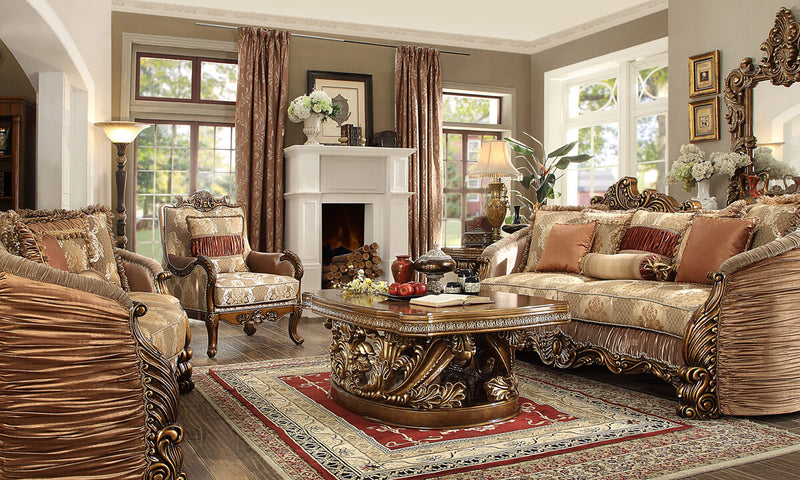 Fabric Loveseat in Metallic Antique Gold Finish L1601 European Traditional Victorian