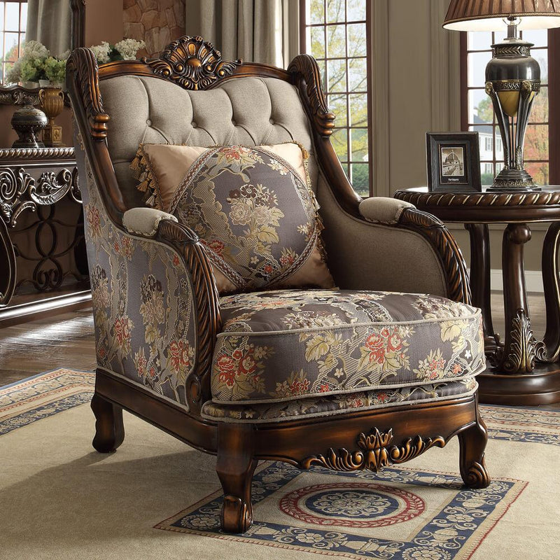 Fabric 3 PC Sofa Set in Red Mahogany & Antique Gold Finish 1623-SSET3 European