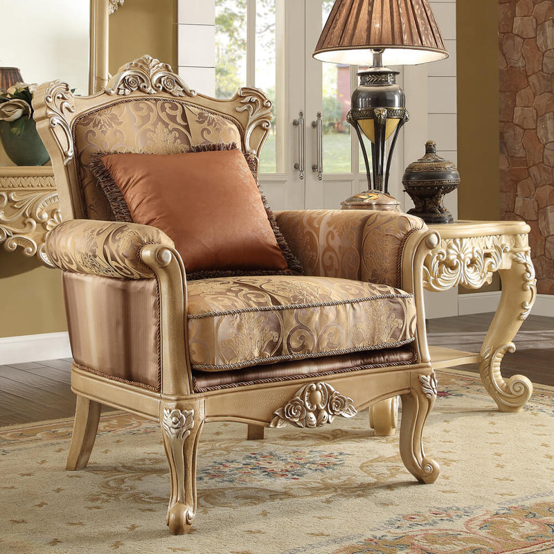 Fabric Accent Chair in Frost Cream Finish C1633 European Traditional Victorian