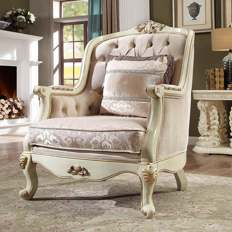 Fabric Accent Chair in Newberry Cream Finish C2011 European Traditional Victorian