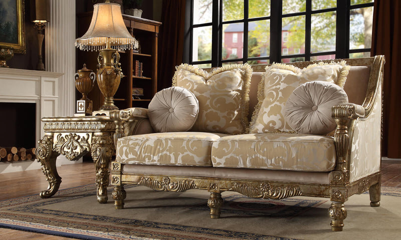 Fabric 3 PC Sofa Set in Metallic Bright Gold Finish 205-SSET3 European Victorian