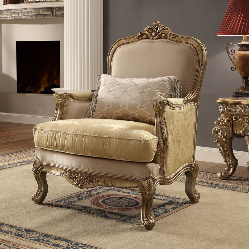 Fabric Accent Chair in Metallic Bright Gold Finish C2626 European Victorian