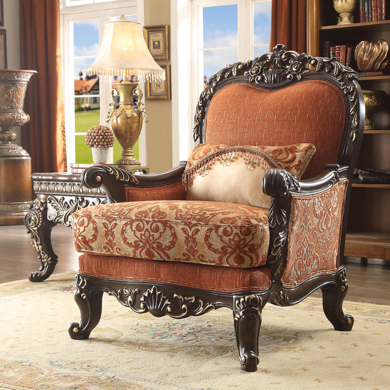 Fabric Accent Chair in Brown Mahogany Finish C2627 European Traditional Victorian