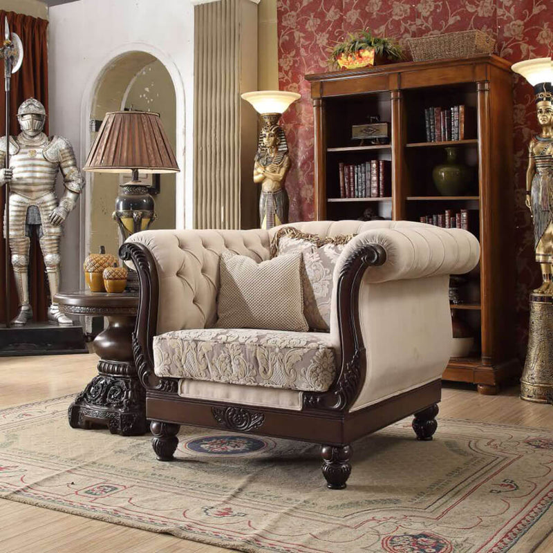 Fabric Accent Chair in Brown Mahogany Finish C2651 European Traditional Victorian