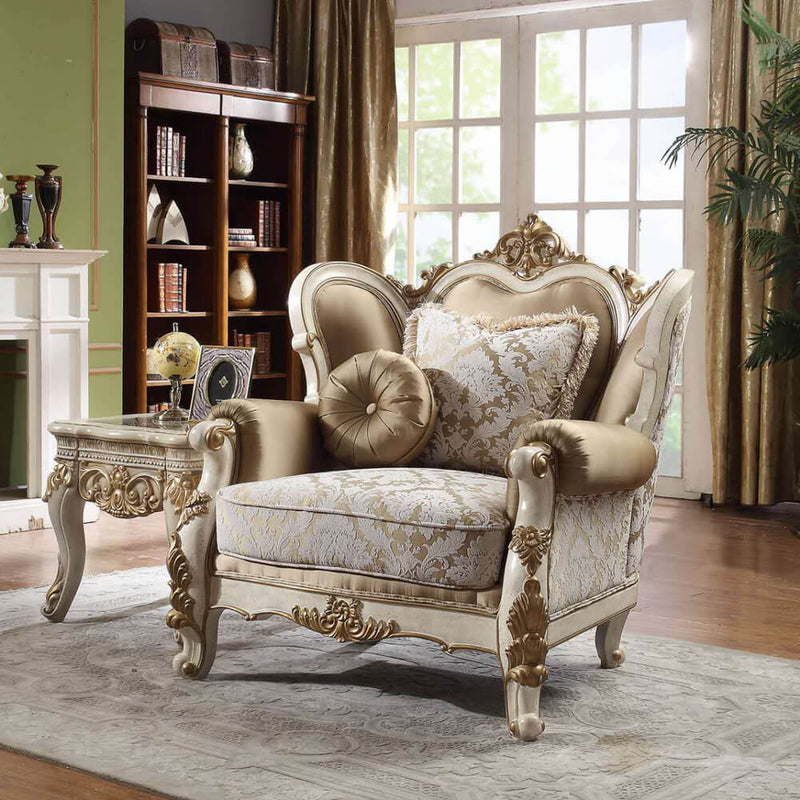 Fabric Accent Chair in Vintage White Finish C2652 European Traditional Victorian