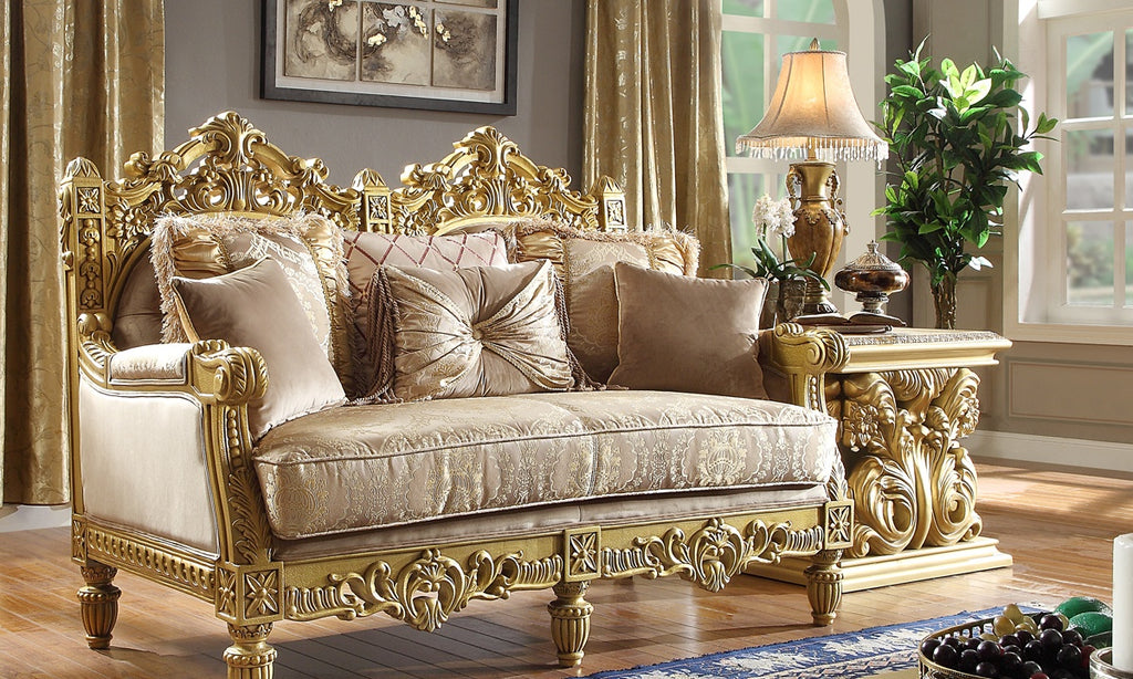 Fabric Loveseat in Metallic Bright Gold Finish L2659 European Traditional Victorian