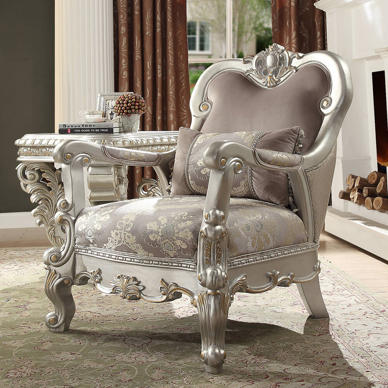 Fabric Accent Chair in Metallic Silver Finish C372 European Traditional Victorian
