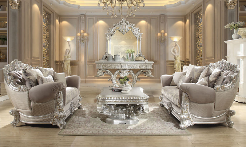 Fabric 3 PC Sofa Set in Metallic Silver Finish 372-SSET3 European Traditional Victorian