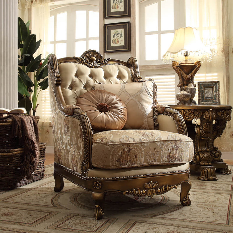 Fabric Accent Chair in Metallic Antique Gold & Brown Finish C506 European Victorian