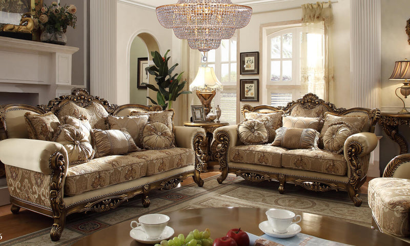 Fabric 3 PC Sofa Set in Metallic Antique Gold & Brown Finish 506-SSET3 European