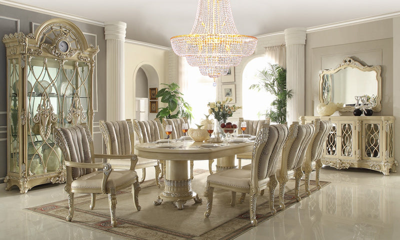 9 PC Dining Table Set in Newberry Cream Finish 5800-DTSET9 European Victorian